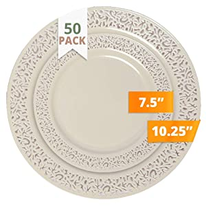 Party Joy 50-Piece Plastic Dinnerware Set | Lace Collection | (25) Dinner Plates & (25) Salad Plates | Heavy Duty Premium Plastic Plates for Wedding, Parties, Camping & More (Ivory)