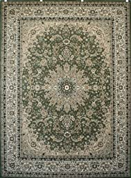 New City Sage Green Traditional Isfahan Wool Persian Area Rugs 5\'2 x 7\'3