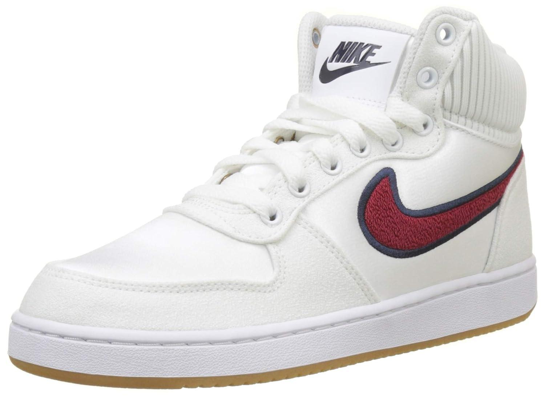 White (White Red Crush Blackened bluee 100) Nike Women''s Ebernon Mid Prem Basketball shoes