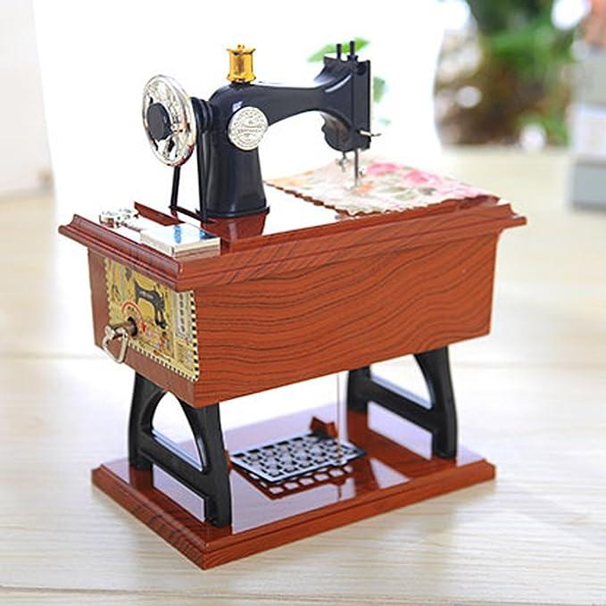 TwoCC Vintage Music Box Mini Máquina de coser Estilo Mecánico ...