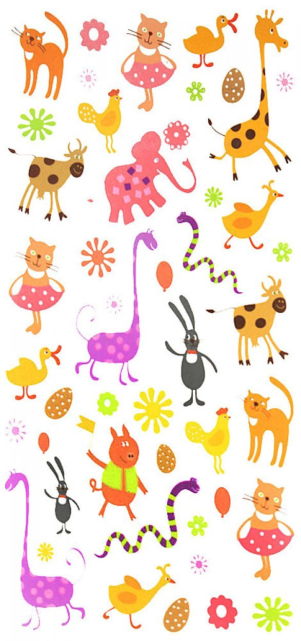 Wonbeauty fake realistic tattoo stickers for children, carton tattoos including many lovely and cute animals such as giraffes,cats,snakes,elephants,ducks,rabbits,pigs,cows,chicks,etc.