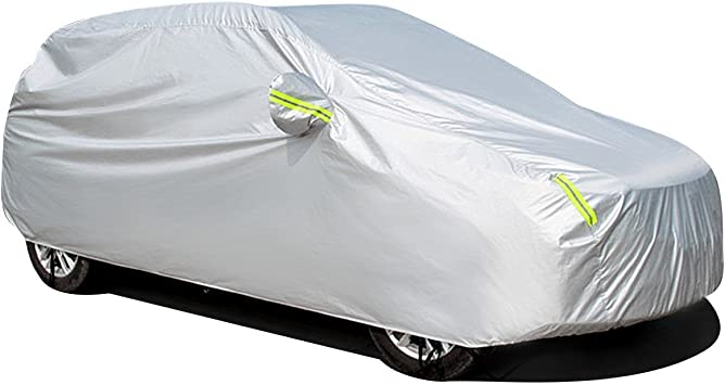 MATCC Car Cover Waterproof SUV Car Cover with Fluorescent Strips UV Protection All Weather Snow Dust Rain Wind Resistant Outdoor Protector Fit SUV 190.94 Inch 485 * 190 * 185cm