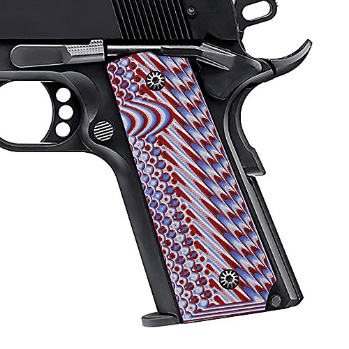COOL HAND 1911 G10 Grips for Full Size/Government/Commander,OPS Texture,Mag Release,Ambi Safety Cut Patriot White/Blue/Red