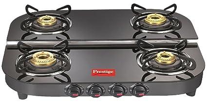 Prestige Plus DGT 04 Glass Top Gas Stove, 4 Burners, Black