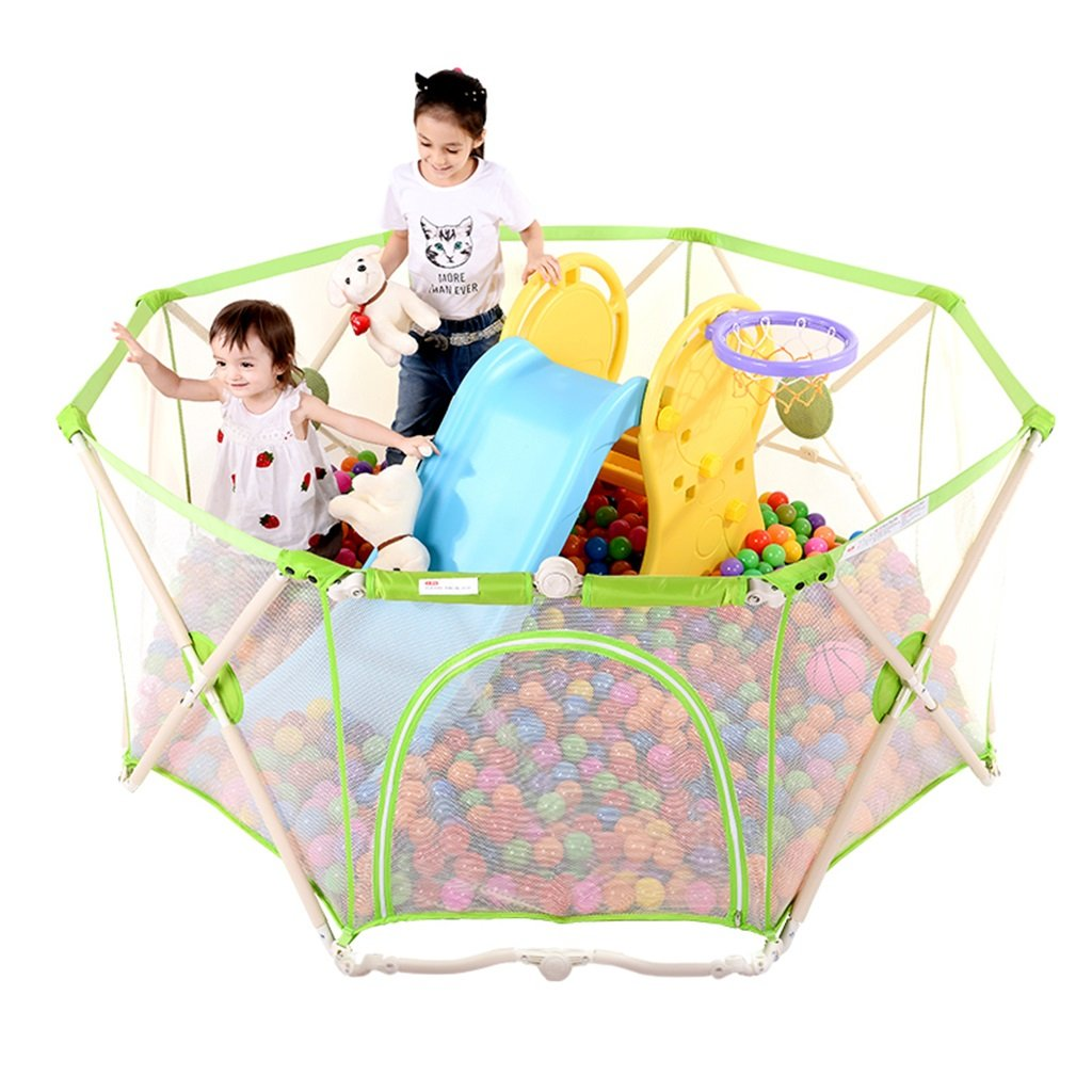 Fence folding children's play fence crawling toddler fence baby fence indoor baby crawling fence (Color : Green, Size : 129 * 129 * 66cm)