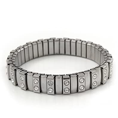 d2feff710 Image Unavailable. Image not available for. Color: Avalaya Unisex Silver  Plated Swarovski Crystal Flex Tennis Bracelet ...