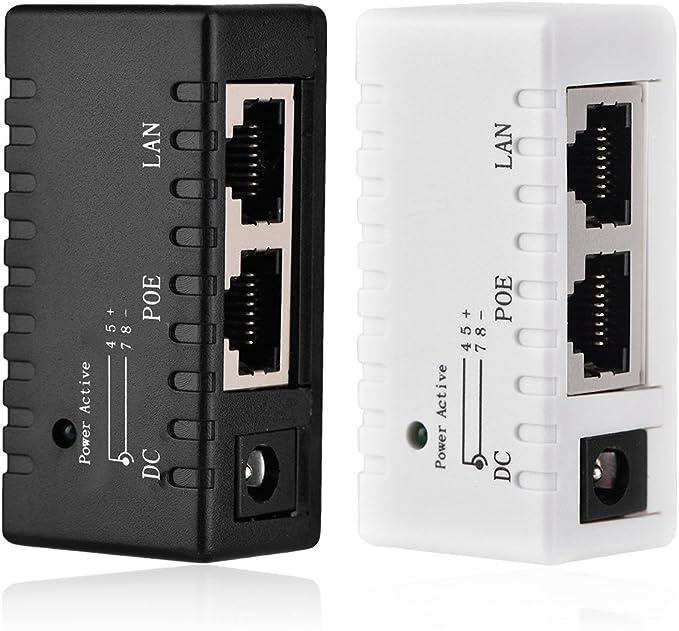 Zer one Adaptador De Inyector Power Over Ethernet Splitter De Inyector PoE para Red LAN 3 pcs Negro