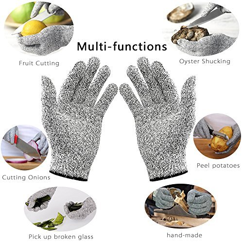 Cut Resistant Gloves - High Performance Level 5 Protection, Food Grade EN388 Certified , Kitchen Glove for Cutting and Slicing.Free Ebook Included!