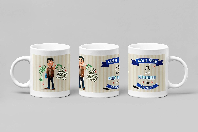 Taza de Desayuno Personalizadas y Divertidas para Los Abuelos. -Aquí Bebe el Mejor Abuelo del Mundo.- Taza Decorativa para Regalo Original y Divertido con Caja. (11oz) 350 ml. (Pelo Moreno)
