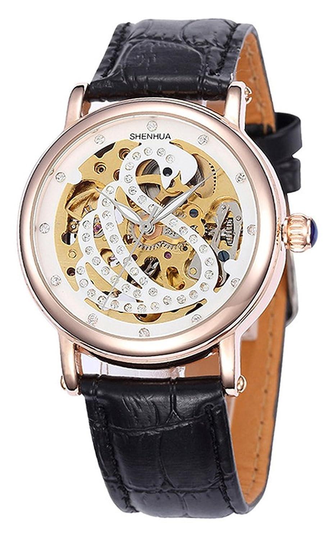 レディースファッションローズゴールド自動機械スケルトンWrist Watches for女性用ダイヤモンドレディース腕時計 ブラック B07DH9D5NHブラック