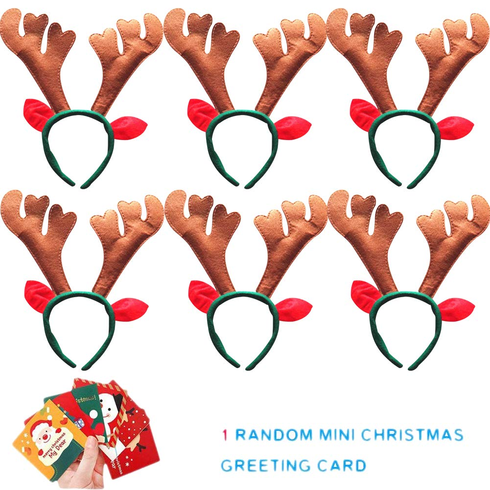 Sept.Filles 6-Pack Christmas Headband Antler Santa Claus Snowman Decoration (R)