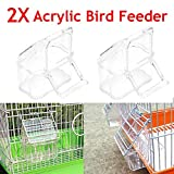 Acrylic Bird Seed Food Feeder 2Pcs/Set Cage Hanging Dish Feeder Dispenser Drinker Supplies Budgie Canary Clear Bowl with Perch