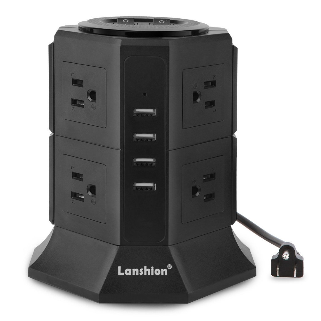 Lanshion 8 Outlet Surge Protector Power Strip with 4 USB Charging Ports 1875W Desktop USB Charging Station with 6.5-Feet Long Power Cord, 1000 Joules,UL Listed (Black) by Lanshion