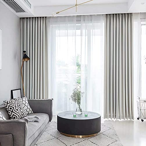 MacoHome White Linen Textured Patio Curtains Lined Privacy Blackout Window Panels Grommet Top
