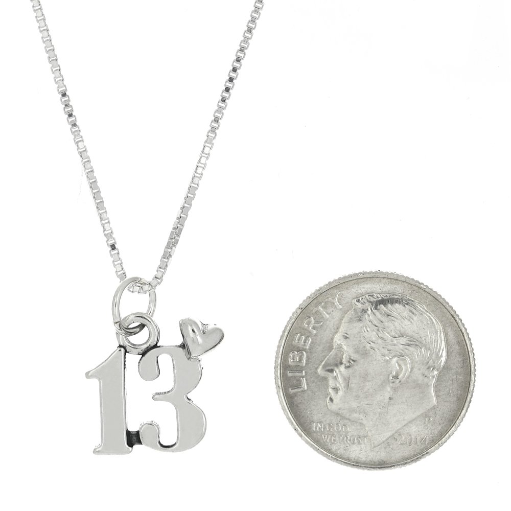 Lgu Sterling Silver Oxidized 13 Years Heart Charm with Box Chain Necklace