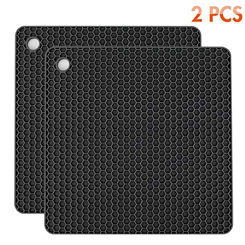 Silicone Pot Holders 2 Pack, Silicone Hot Pads, Heat Insulation Table Mats For Family Use - HB-GJD/Black/2 Pcs