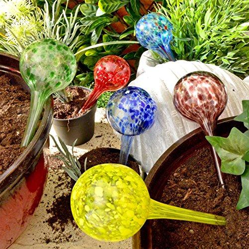 Plant Watering Spheres Globes 6pc Outdoor Garden Pot Waterers Glass...