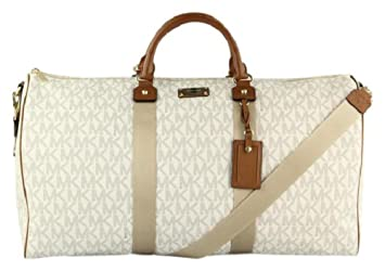 9f78031257c0 Image Unavailable. Image not available for. Color: Michael Kors 35T6GTFU4B  Travel XL Vanilla PVC Duffle Weekender Carry On Luggage Bag