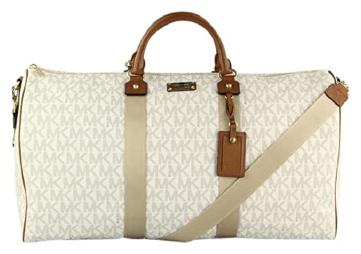 46fd1995a515b6 ... usa michael kors 35t6gtfu4b travel xl vanilla pvc duffle weekender  carry on luggage bag 364ce e46f8