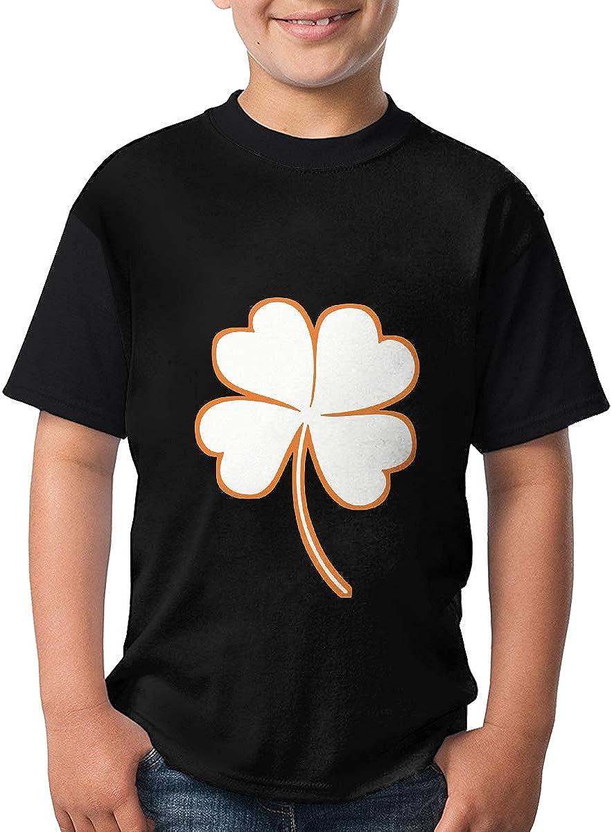 St Patricks Day Shamrock Short Sleeve Tops Customized Crew Neck Tee for Big Girl/& Big Boy