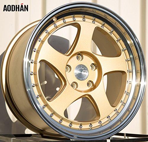 Aodhan Wheels AH-01: Rim Size 18x9.5, 5x114.3, 73.1, 30 (Gold Machined Lip) 18x10 Deep Dish