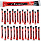 Cyalume SnapLight Red Light Sticks – 6 Inch Industrial Grade, High Intensity Glow Sticks with 12 Hour Duration (Pack of 30)