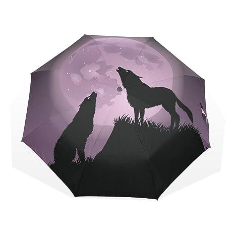 GUKENQ - Paraguas de Viaje con diseño de Lobos de Peluche para Lluvia y Luna Completa