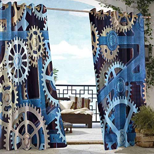 (DILITECK Extra Wide Outdoor Curtain Clock A Set of Clock Gears Steel Cogwheels Pattern Mechanical Theme Design Print Waterproof Patio Door Panel W84 xL96 Blue and Sand Brown )