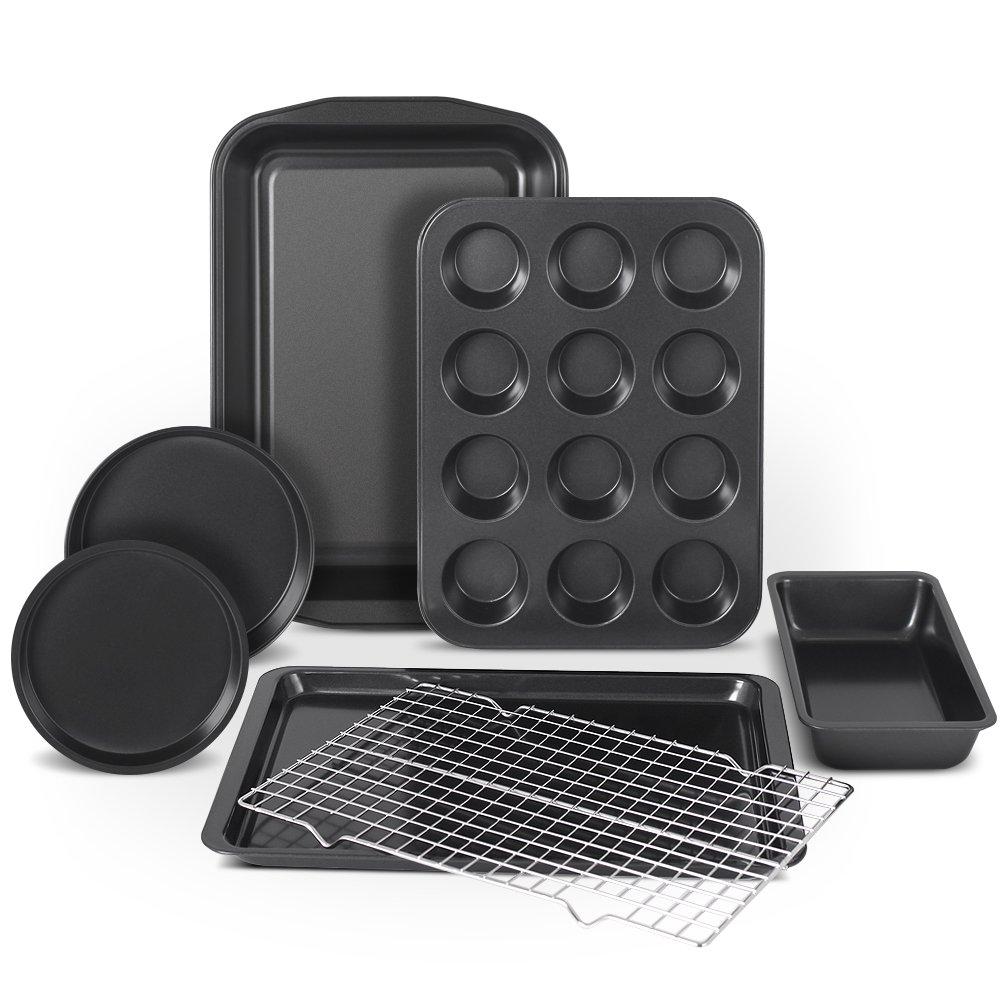 Kootek 7 Piece Non Stick Bakeware Set, Muffin Pan, Loaf Pan, Cake Pan, Round Pan, Baking Sheet Pan, Cooling Racks Professional Baking Supplies Rectangle Cookie Pans by Kootek