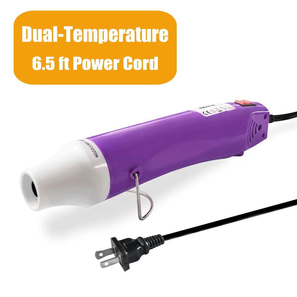 Mlife Mini Heat Gun - 300 Watt - Dual-Temperature Heat Tool with 6.5FT Power Cord for DIY Acrylic Resin Cups Tumblers Embossing Shrink Wrapping Paint Drying Crafts Electronics DIY (Purple)
