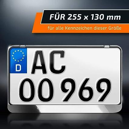 Schildevo Kennzeichenhalter 255 X 130 Mm Chrom Look Silber Zweizeilig Motorrad Roller Traktor Nummernschildhalter Kennzeichen Halterung Dhl Versand Auto
