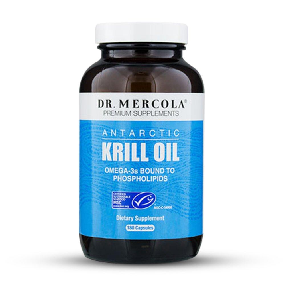 Dr. Mercola Antarctic Krill Oil - 180 Capsules - 1000MG Omega 3 Supplement With EPA DHA Phospholipids & Astaxathin - Odorless & Mercury Free - For Brain, Joint & Heart Health