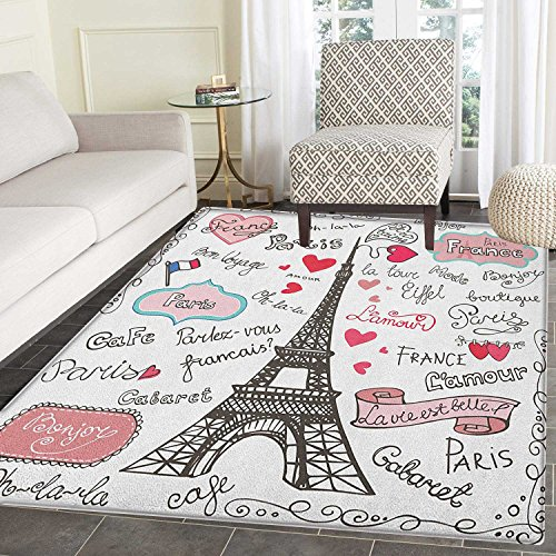 Eiffel Tower Area Rug Carpet Paris Symbols Lettering Heart S