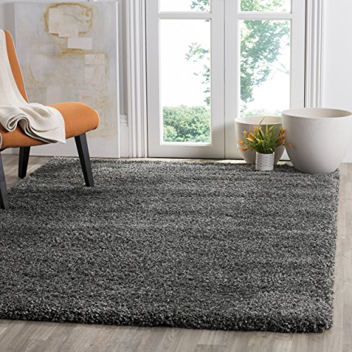 Safavieh Santa Monica Shag Collection SGN725-8484 Dark Grey Plush Area Rug (4' x (Bedroom Santa)