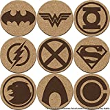 Justice League Cork Coaster Set of 4, 6, or 8 (Batman, Superman, Wonder Woman, The Flash, Green Lantern, Martian Manhunter, Hawkgirl, Aquaman, Cyborg)