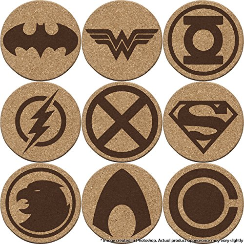 Justice League Cork Coaster Set of 4, 6, or 8 (Batman, Superman, Wonder Woman, The Flash, Green Lantern, Martian Manhunter, Hawkgirl, Aquaman, Cyborg) (Super Set Bats)
