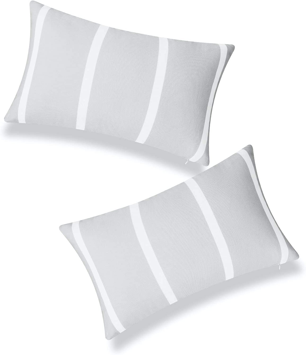 Hofdeco Patio Indoor Outdoor Lumbar Pillow Cover ONLY for Backyard, Couch, Sofa, Gray Wide Striped, 12