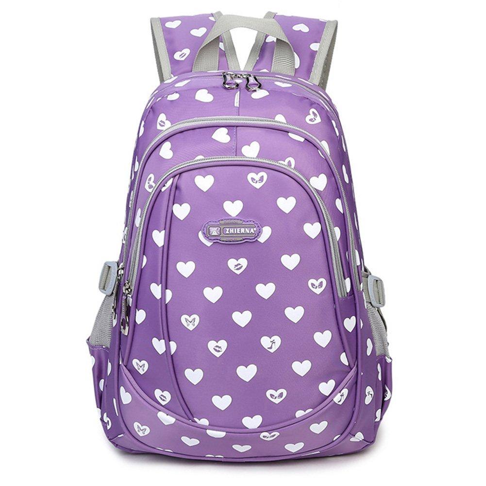 Abshoo Heart Printed School Backpacks For Girls Cute Elementary School Bookbags (Purple)
