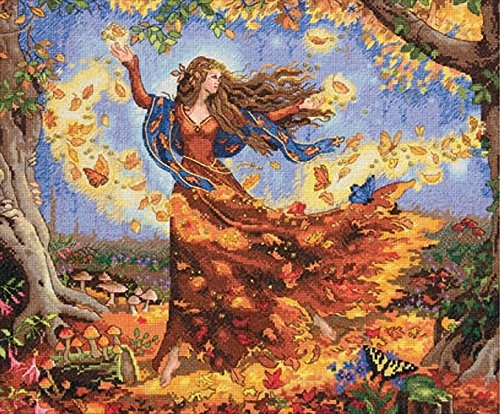 - Dimensions Advanced Counted Cross Stitch Kit, Fall Fairy, 16 Count Dove Grey Aida, 14'' x 12''