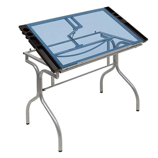 MRT SUPPLY - Mesa de Escritorio Plegable de Cristal Azul para ...