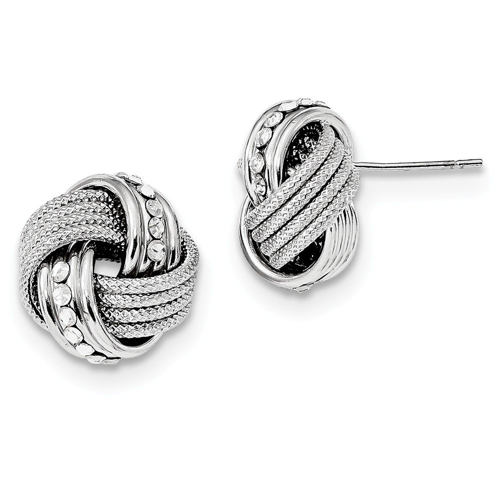 Sterling Silver Rhod.Swarovski Textured Polished Love Knot Earrings