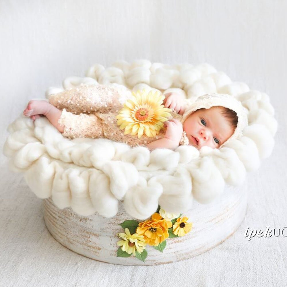 50cm Handmade Chunky Newborn Baby Infant Photo Props Basket Bed Filler Layer Rug Thick Fluffy D&J DJC001401