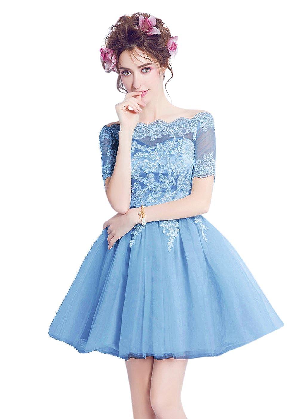 bluee BessWedding Women Appliques Sequins Lace up Sash A Line Short Prom Evening Dress