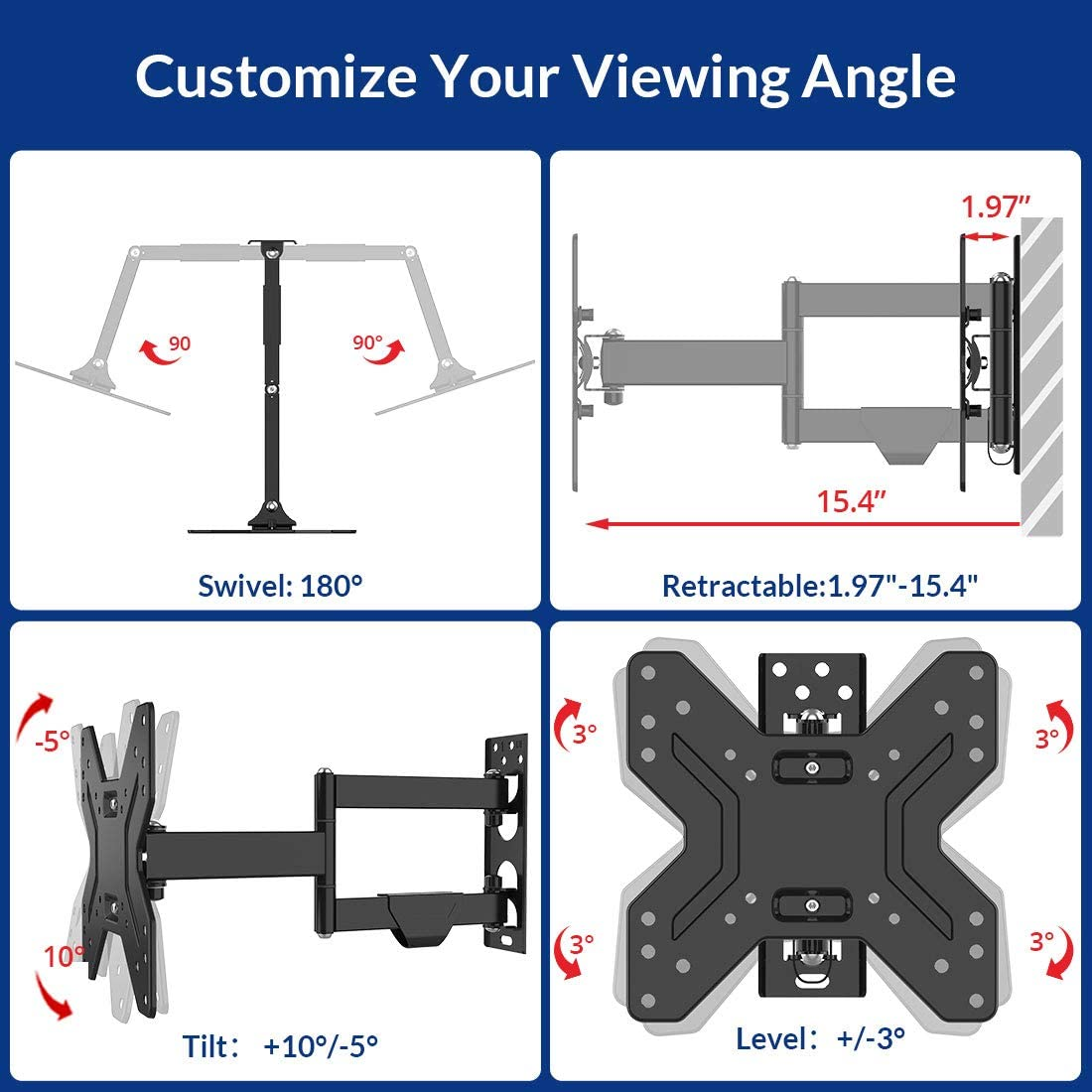Fleximounts TV Wall Mount Bracket for Most 17-42 inch TV Full Motion with Articulating 15.4 Extension Arm Swivel Tilt for LCD LED HD and Plasma