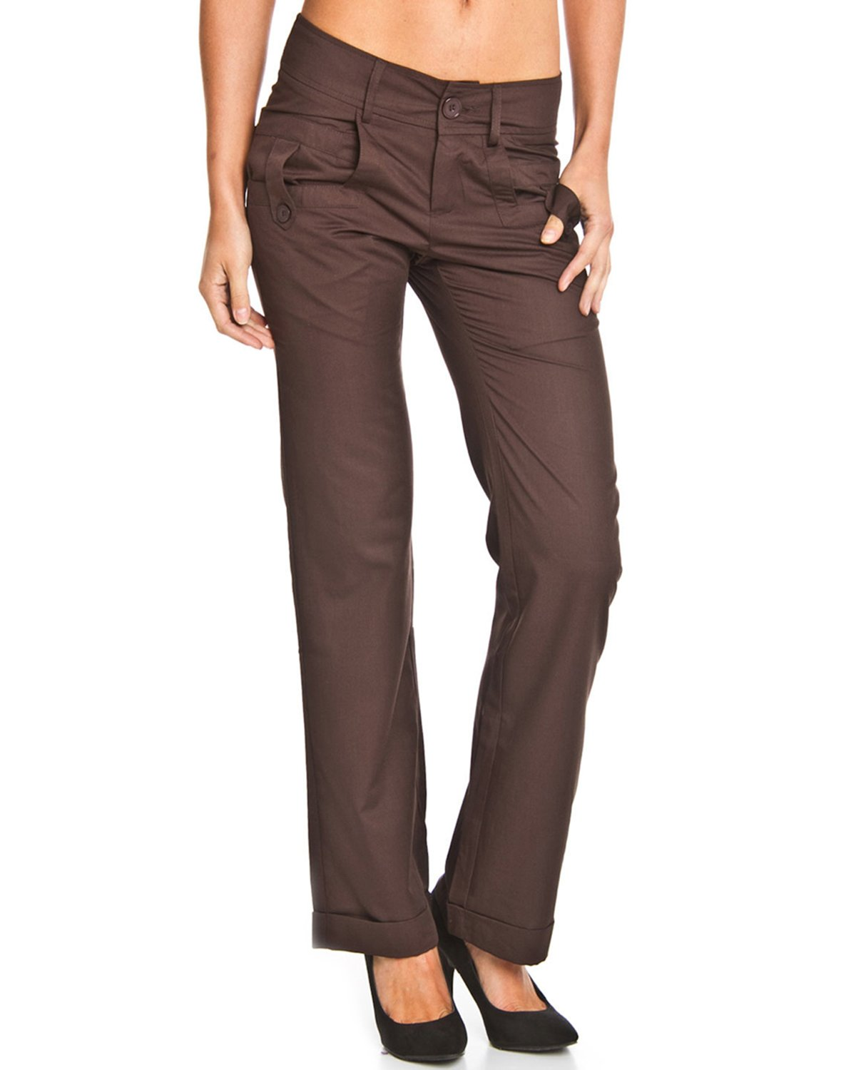Style NY Women's Button Tab Skinny Fashion Pants MK227
