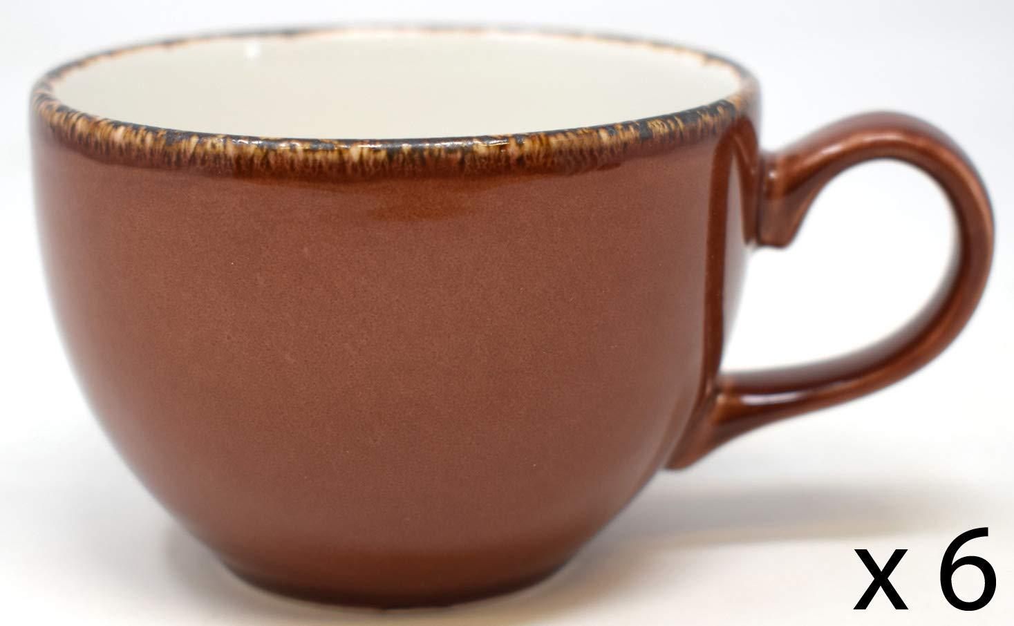 6 x 8oz Brown Mocha Cappucino Ceramic Coffee Cups Steelite