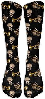 LoveBiuBiu Skull Trumpet Pattern Comfort Cool Vent Crew Socks,One Size