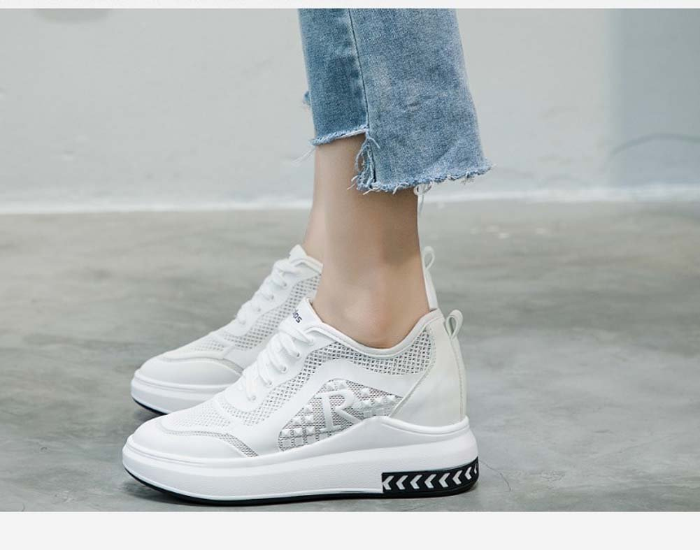Erhöhter Weiblicher Freizeitschuh-Starke Weiße Schuhe Mesh Wilde Breathable Wilde Mesh Sport-Laufende Schuhe UK3-UK7,Weiß,EU38UK5 - 68205d
