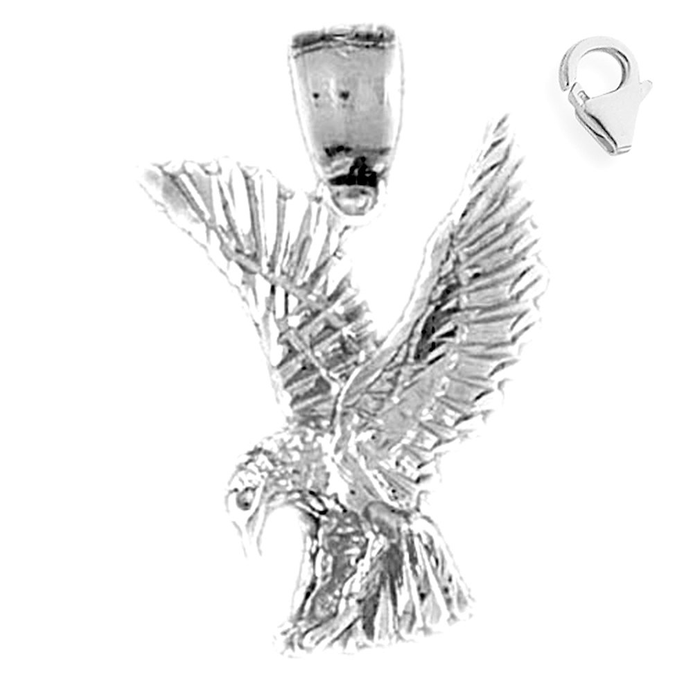 Jewels Obsession Eagle Pendant Sterling Silver 29mm Eagle with 7.5 Charm Bracelet