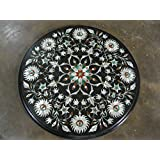 """14"""" Black Coffee Table Side Table End Table Patio Garden Table Sofa Table Round Shape Stones Inlai Marble Table Top"""